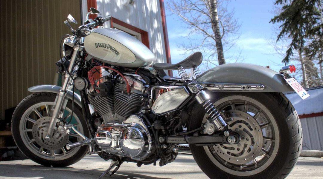 Green Ghost Pearl on Titanium Harley Custom Paint Job.
