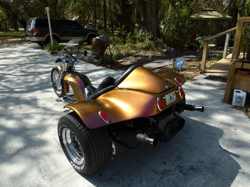 Chameleon Paint pearl 4739OR. Orange Gold Red sprayed on a Trike.