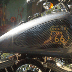 Route 66 Harley. This Bike Painted with a variety of our products, including Ghost pearls, flakes, and candy pearls.