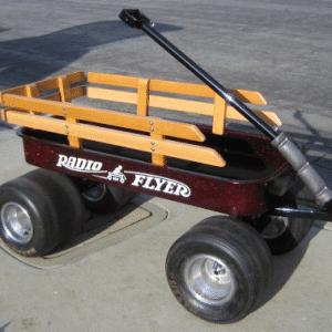 Apple Red metal Flake on Custom Radio Flyer wagon from a user testimonial.