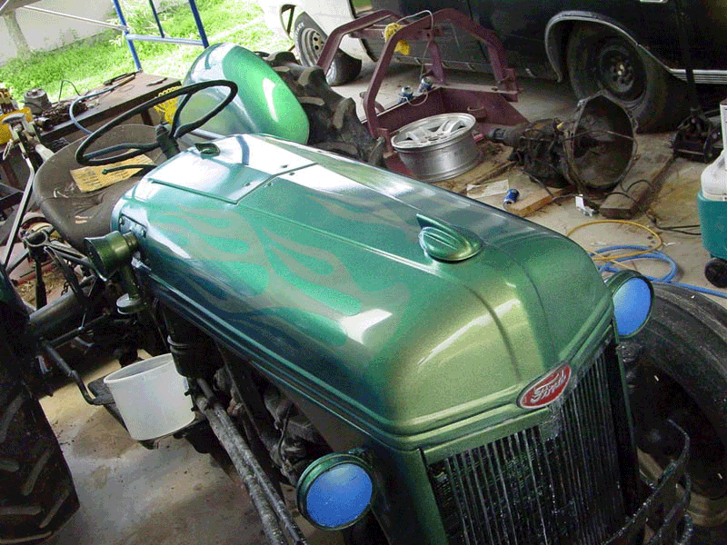 Gold Green Blue Chameleon Flake on old Tractor.