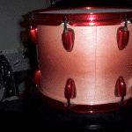 Rose Red Candy pearls on Drum Set by DMR Drums.