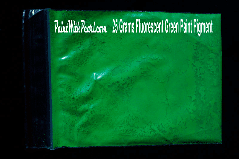 25 gram bag of green-fluorescent-paint-pigment