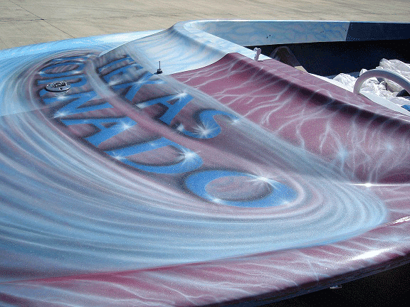 Jet boat airbrushed with Red Wine Candy, Electric Blue, Silver Platinum Ghost Pearls.