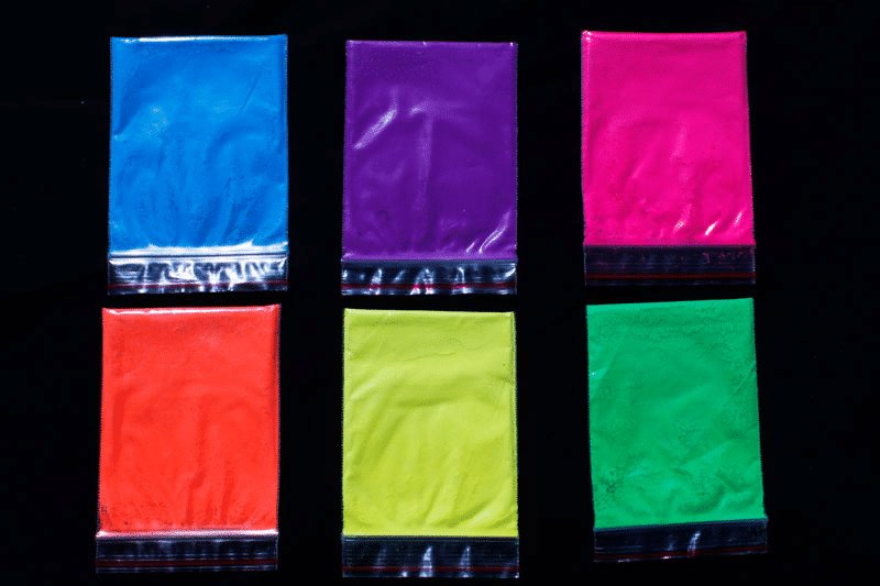 Assortment of 25 Gram Bags of Fluorescent Paint Pigment