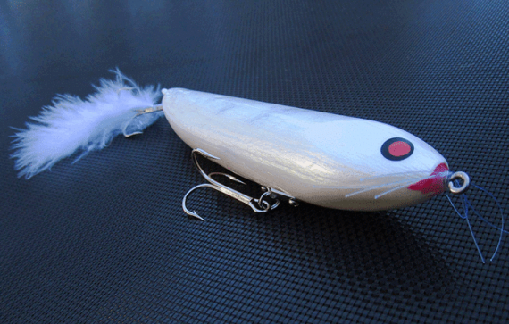 This custom fishing lure has a silver ghost pearl in the sub-coat.