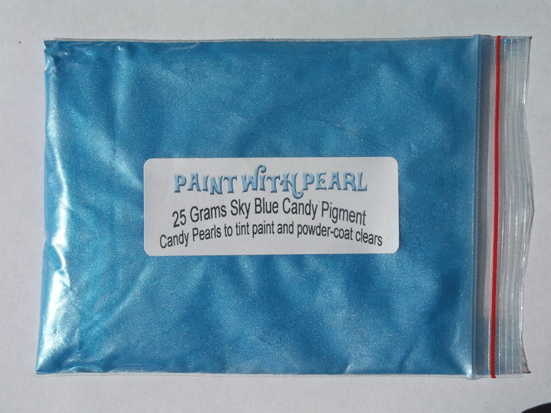 Sky Blue Candy Pearl in 25 Gram Bag.