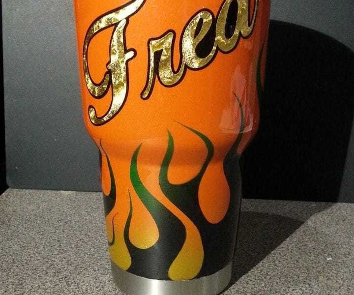 Custom flame paint on Fred's YETI cup.