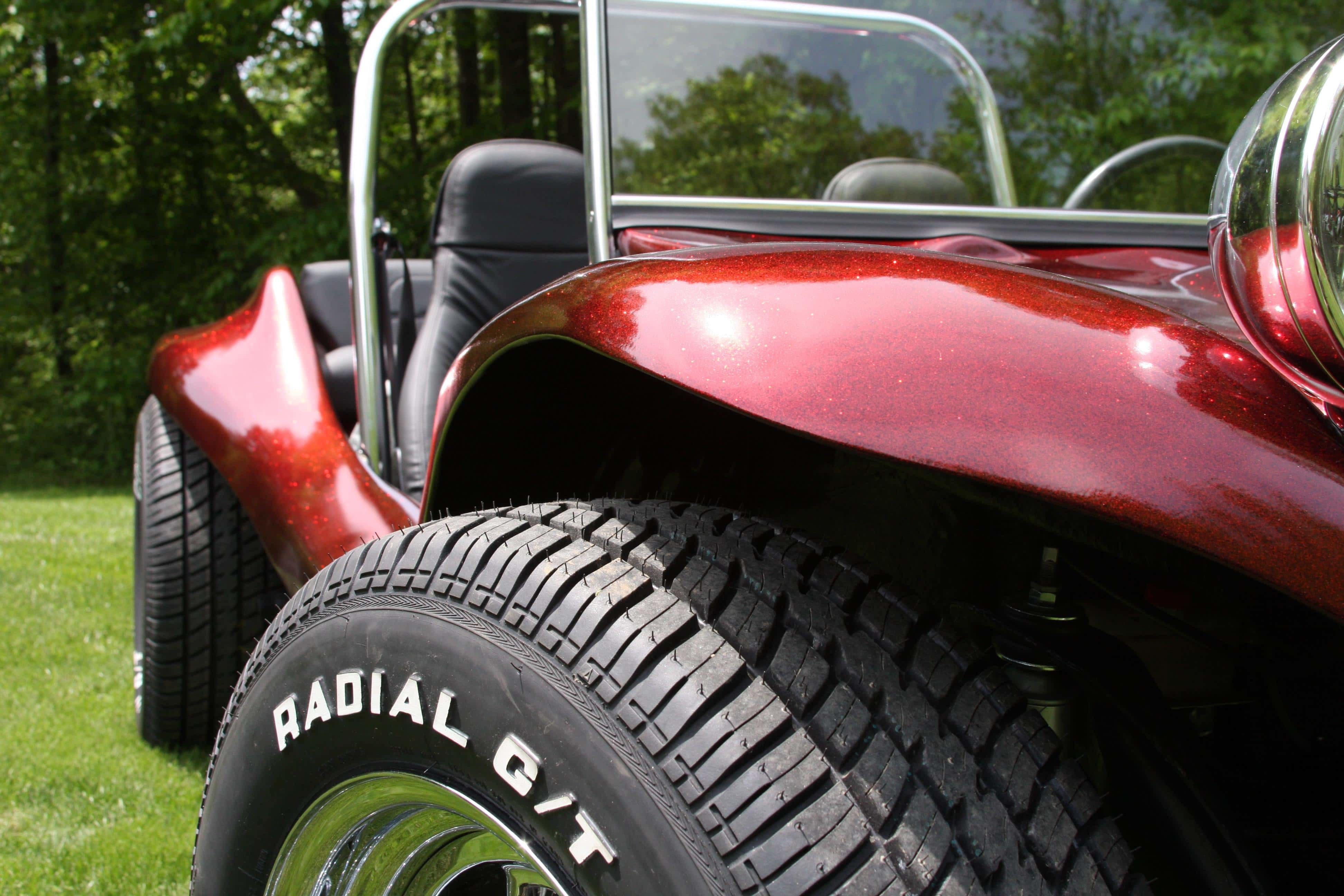 fire red metal flake dune buggy