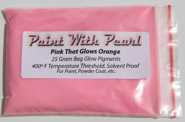 25 Gram Bag of Pink Glows Orange Glow in the Dark Pigments.