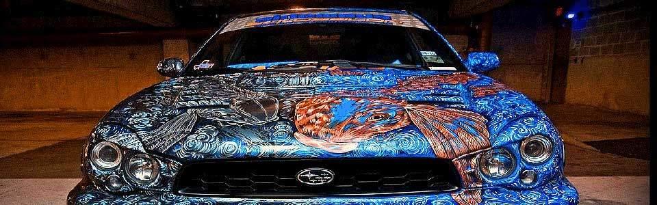 Custom Paint Job on a Subaru from Sideways Auto Salon.