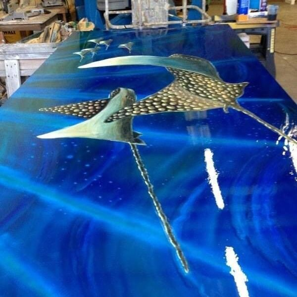 metal wall art with blue ghost pearl