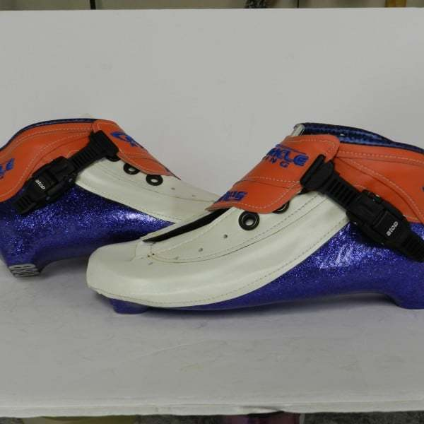 inline skate boots with blue metal flake