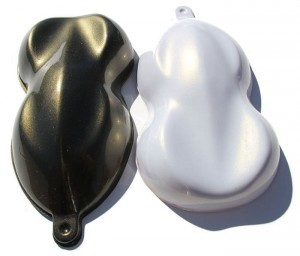 Gold Phantom Pearls Shapes painted over both black and white base coats.