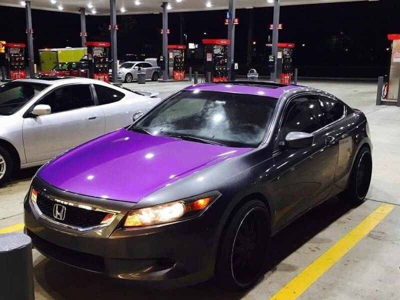 Purple Candy Metallic Pigment on car hood.