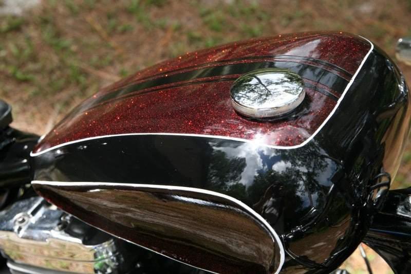 apple red metal flake tank