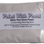 White Glow in the dark pigment glows purple at night!