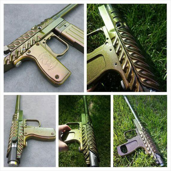 Paintball gun with 4739CS Gold Green Bronze Chameleon Paint powder coated on the surface.