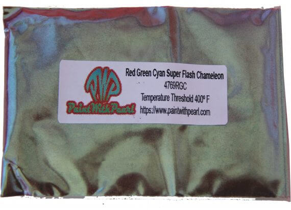 Red Green Cyan Superflash Chameleon Pearls in 25 gram bag. Picture of bag.
