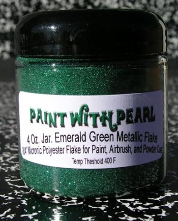 Emerald Green Metal Flake works great in all solvent based paints, epoxies, and even powder-coats.