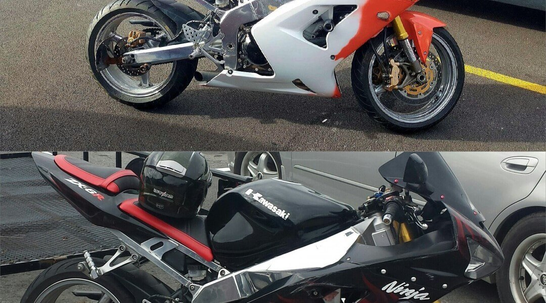 Before and after image of orange thermochromic super bike.