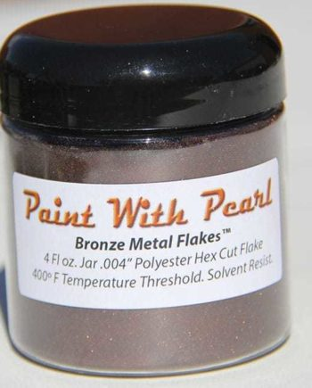Bronze Metal Flake in 4fl oz jar. That is one measuring cup of Bronze metal flake.