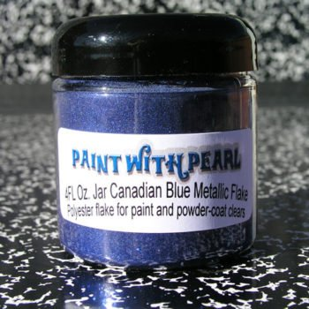 Canadian Blue Flake looks great over many dark base-coats, but we recommend black or blue base.