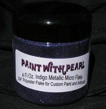 Indigo Metal Flake works great in all solvent based paints, epoxies, and even powder-coats.