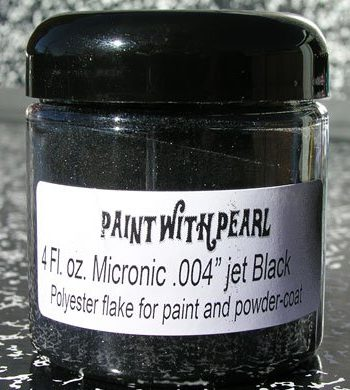 Our Jet Black Metal Flake works great in all solvent based paints, epoxies, and even powder-coats.