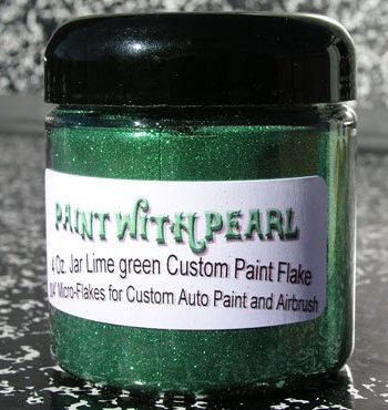 Lime Green Metal Flake works great in all solvent based paints, epoxies, and even powder-coats.