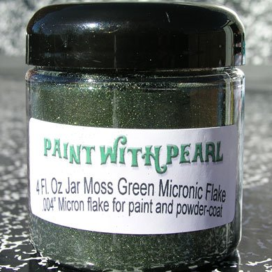 Our Moss Green Metal Flake works great in all solvent based paints, epoxies, and even powder-coats.