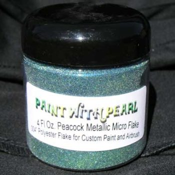 Peacock Flake combines blue and gold flakes to make a mysterious green hue.