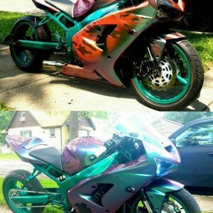 Super-bike painted camouflage, then with thermochromic, then with our Ghost Chameleon.
