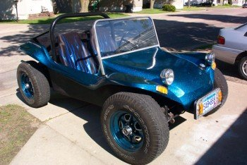 Strato Blue flake painted on a dune buggy. Solvent resistant metal flake works in all paints.