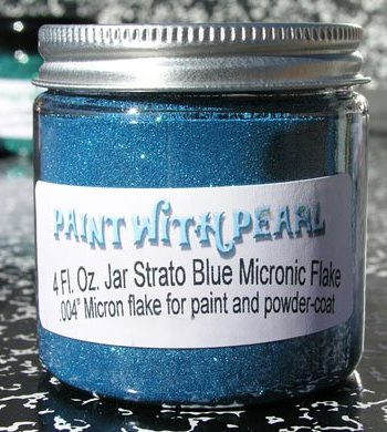 Strato Blue flake in 4 oz. Jar. One jar can color a whole car when painted over black.
